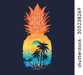 surf pineapple illustration ... | Shutterstock .eps vector #505238269