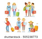 people and family traveling on... | Shutterstock .eps vector #505238773