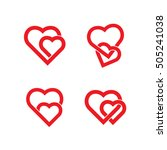 Heart Icon Set. Two Hearts...