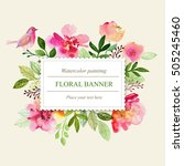watercolor floral greeting card.... | Shutterstock . vector #505245460