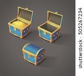 set of blue chests. open empty...   Shutterstock .eps vector #505267234