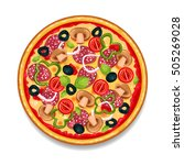 colorful round tasty pizza on...