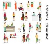 shopping people set with... | Shutterstock .eps vector #505269079
