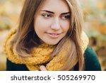 pretty woman in a yellow knit... | Shutterstock . vector #505269970