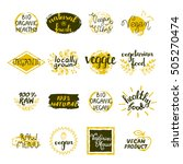 vegan labels set of bio organic ... | Shutterstock .eps vector #505270474