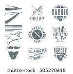 set of vintage barber shop... | Shutterstock .eps vector #505270618