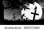 silhouette zombie walking on... | Shutterstock .eps vector #505272583
