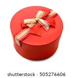 red round gift box isolated on... | Shutterstock . vector #505276606