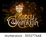 happy hanukkah lettering on... | Shutterstock .eps vector #505277668