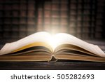 book open old wisdom desk read... | Shutterstock . vector #505282693