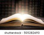 book open old wisdom desk read... | Shutterstock . vector #505282693