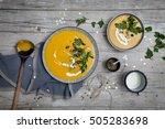 pumpkin cream soup with... | Shutterstock . vector #505283698
