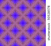 Computer generated fractal image with a seamless floral abstract design in blue on a pink background. - stock photo