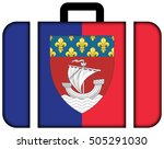 flag of paris with coat of arms ... | Shutterstock . vector #505291030