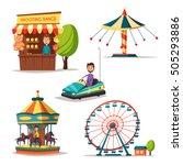 amusement park theme. cartoon... | Shutterstock .eps vector #505293886