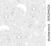 vector seamless pattern. hand... | Shutterstock .eps vector #505294024