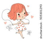 cute girl with a skipping rope. | Shutterstock .eps vector #505301293