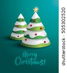 merry christmas  christmas tree. | Shutterstock .eps vector #505302520