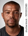 Stock photo portrait of real black african man with no expression id or passport photo full collection of 505302580