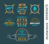 vintage craft beer brewery logo ...   Shutterstock . vector #505305673