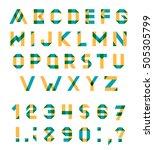 alphabet set fun geometric font.... | Shutterstock . vector #505305799