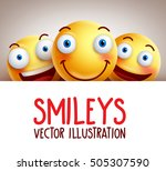 happy smileys funny vector... | Shutterstock .eps vector #505307590