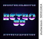 80's retro alphabet font.... | Shutterstock .eps vector #505311814