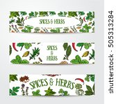 set of three hand drawn banner... | Shutterstock .eps vector #505313284