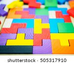 colorful wooden puzzle for kid... | Shutterstock . vector #505317910