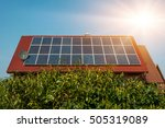 solar panel on a red roof  ... | Shutterstock . vector #505319089
