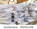 paper documents stacked in... | Shutterstock . vector #505321198