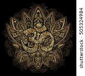 hand drawn gold on black ornate ... | Shutterstock .eps vector #505324984