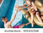 group of friends having party... | Shutterstock . vector #505332568