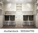 modern bathroom with white... | Shutterstock . vector #505344790