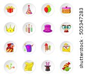 celebration icons set. cartoon... | Shutterstock . vector #505347283