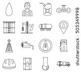 oil industry icons set. outline ... | Shutterstock . vector #505349998