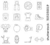 fitness icons set. outline...   Shutterstock . vector #505350019