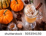 pumpkin spice latte with... | Shutterstock . vector #505354150