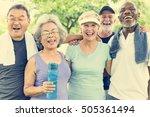 senior group friends exercise...   Shutterstock . vector #505361494