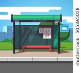 empty suburban road bus stop... | Shutterstock .eps vector #505365028