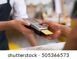 close up of hand using credit... | Shutterstock . vector #505366573