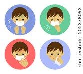 cold symptoms of boy   vector... | Shutterstock .eps vector #505378093