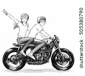 Boy And Girl Riding Motorcycle