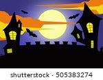 halloween night   horror castle ... | Shutterstock . vector #505383274