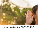 close up woman holds her hand... | Shutterstock . vector #505389430