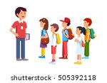 teacher or coach talking to a... | Shutterstock .eps vector #505392118
