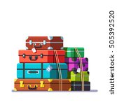 big packed tightened baggage... | Shutterstock .eps vector #505392520