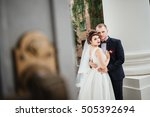beautiful couple  bride and... | Shutterstock . vector #505392694