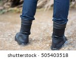 man is hiking outdoor with... | Shutterstock . vector #505403518