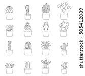 set of cactus in pots  vector... | Shutterstock .eps vector #505412089